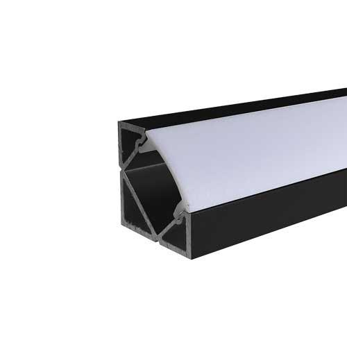 2 METER SET LED ALUMINIUM Profil 45° SCHWARZ Opal Abdeckung UL3356BW Led-Planet Shop Wien
