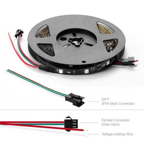18W/m DIGITAL LED STREIFE 60SMD/m RGB 12V Programmierbar PCB Schwarz WS2811 1m GL4330 Led-Planet Shop Wien