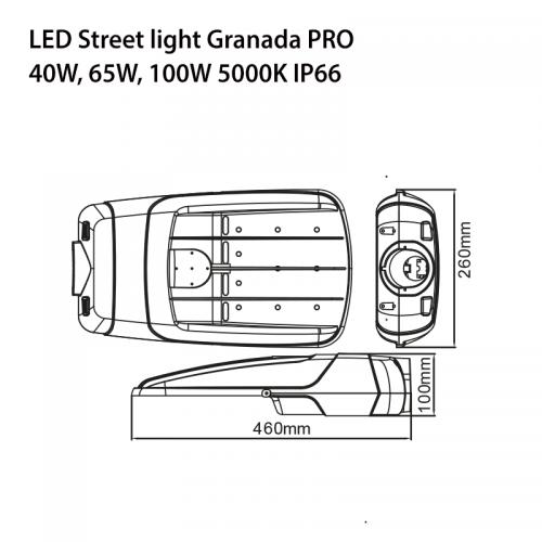 100W LED Straßenlampe GRANADA PRO CREE IK10 IP66 7 JAHRE GARANTIE TAGESLICHT GL9138