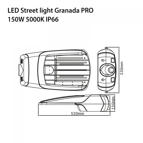 150W LED Straßenlampe GRANADA PRO CREE IK10 IP66 7 JAHRE GARANTIE TAGESLICHT GL9139 Led-Planet Shop Wien