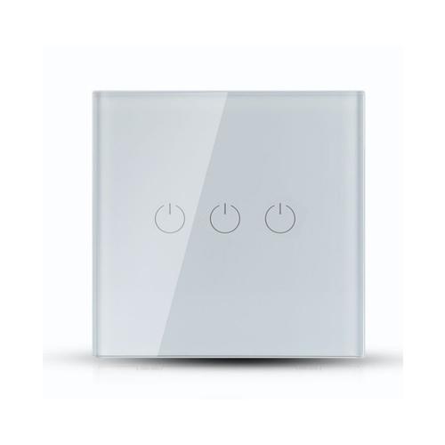 Design Wand Lichtschalter 3Weg LED WLAN SMART ALEXA GOOGLE HOME  Glas Weiß UL8419