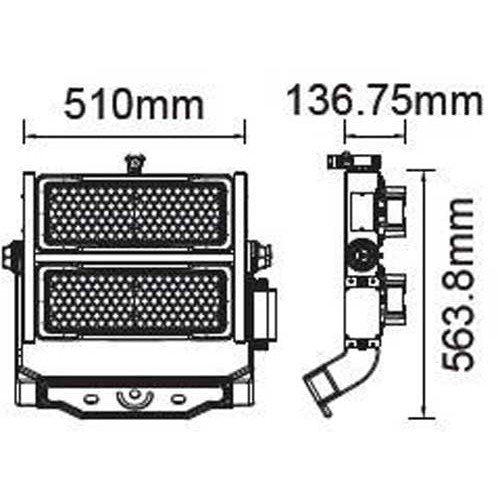 500W LED Strahler SAMSUNG LED MeanWell HI LUMEN IP65 SPORT PRO 120° Neutralweiß UL0496