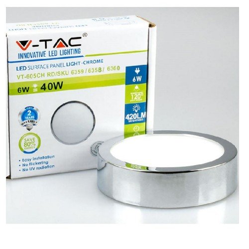 6W LED Deckenleuchte Aufputz LED Modul RUND PREMIUM CHROM Kalt-, Neutral-, Warmweiß