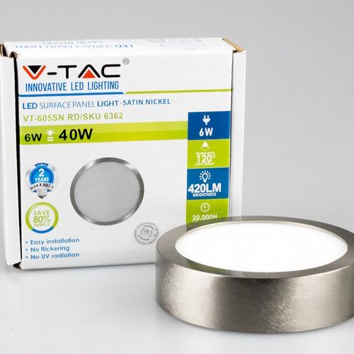 6W LED Deckenleuchte Aufputz LED Modul RUND PREMIUM SILBER Kalt-, Neutral-, Warmweiß