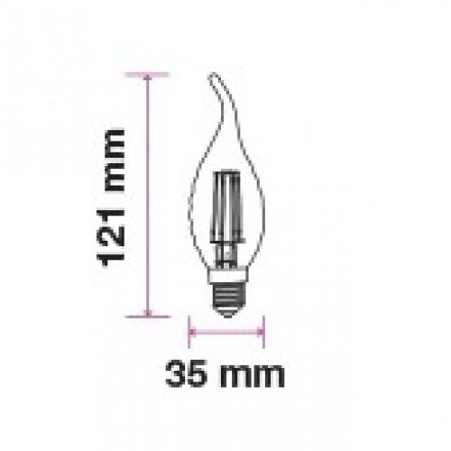 4W LED E14 FILAMENT Kerze DIMMBAR für Kronleuchter und Kristalllüster Flame Warmweiß UL4366