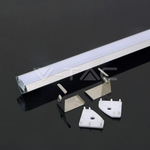 2 METER SET LED ALUMINIUM Profil 45° GRAU UL3356 Led-Planet Shop Wien