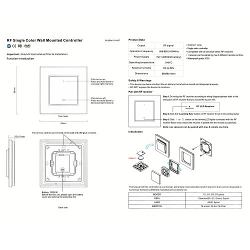 LED Dimmer Sender Wandschalter Touch 1 Zone SR2833K1 GL6321 Led-Planet Shop Wien