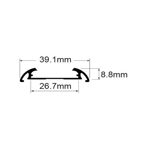 2 Meter SET LED Profil Aufbau Deco Breit 2m Grau APN216LX